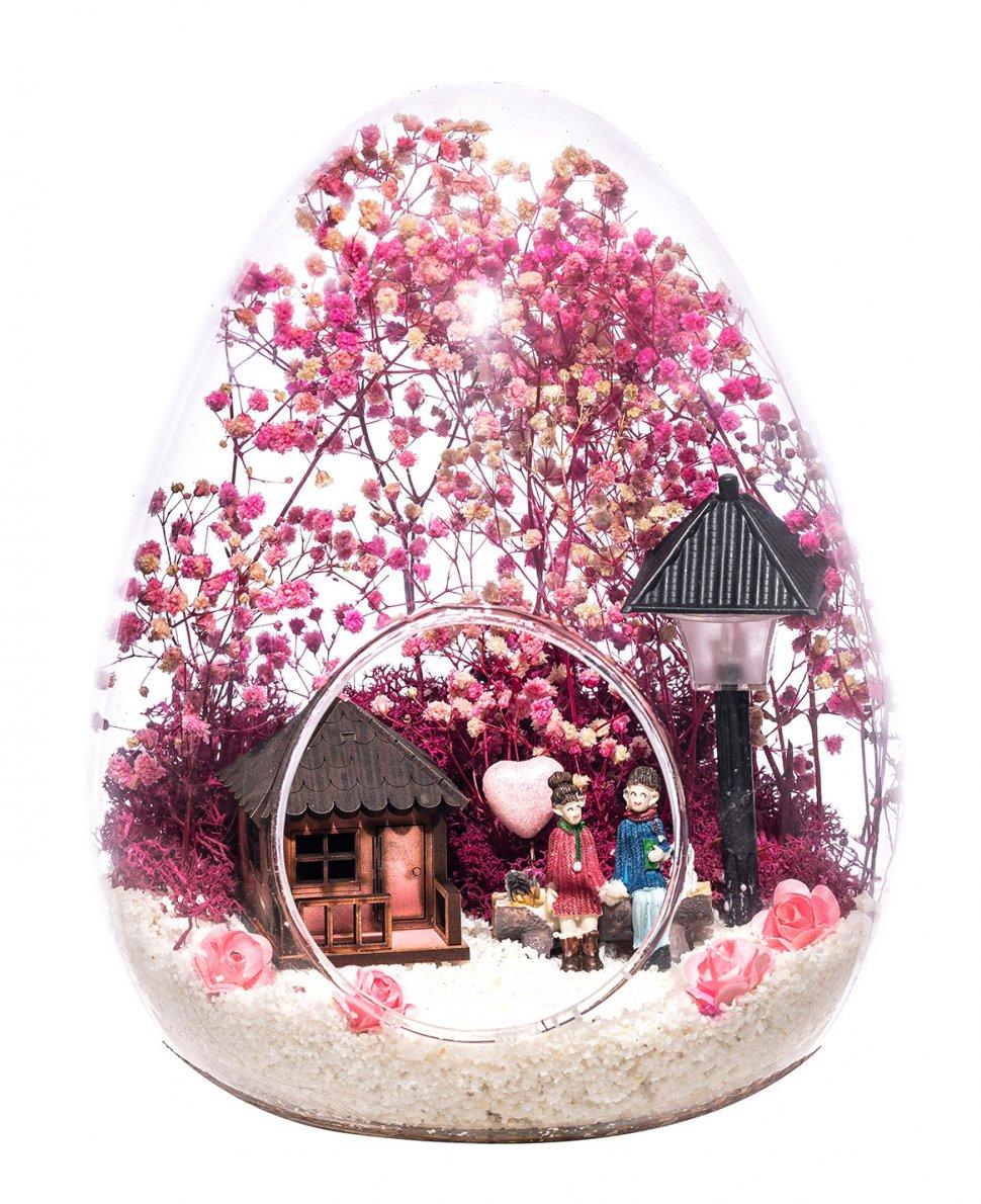 Teraryum Işıklı Pembe Aşk Bahçesi